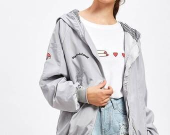 Letter Print Hooded Zip Up Jacket