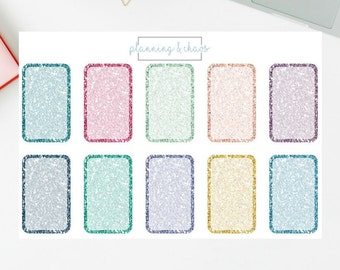 Glitter Half Boxes - Functional | Planner Stickers