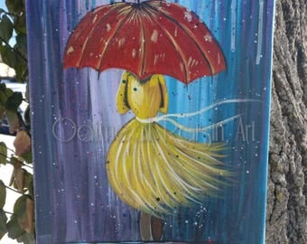 Walk through the storm, Hand painted, acrylic on canvas, wall art