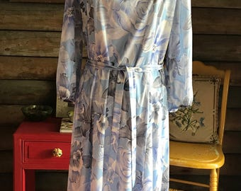 1970s floral dress with roses and irises