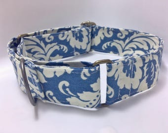 Blue-white floral martingale collar; for greyhounds/galgos (1.5 inch/3.9cm wide)