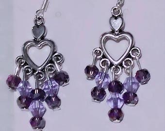 purple heart earrings and brooch set