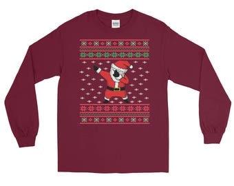 Ugly Santa dabbing Christmas Holiday t shirts || Funny Santa dabbing Christmas Holiday ugly Long Sleeve T-Shirt