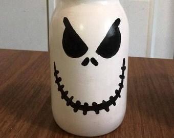 Jack Skellington Hand Painted Mason Jar