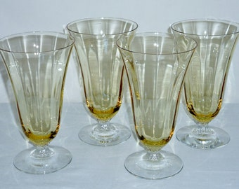 "4 Fostoria Fairfax ICE TEA Parfait Water Topaz Yellow glasses optic crystal #5099 6"" Excellent"