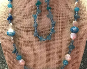 Aqua Pearl Swarovski Crystal Jewelry Set