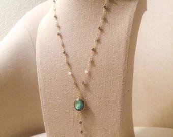 14k Gold Labradorite Rosary Necklace