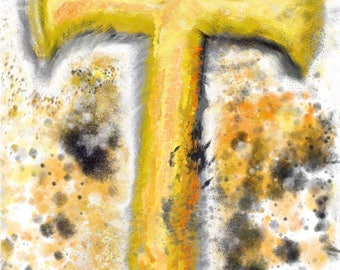 Abstract Painting/Cross/Digital Print/Instant digital download