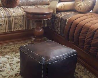 Moroccan Handcrafted Leather Pouf, Ottoman Leather Pouf Brown