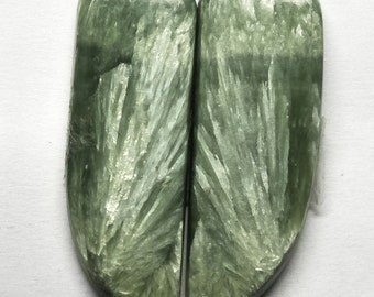 Natural Seraphinite Fancy Pair Cabochon, Seraphinite Stone, Jewelry Cabochon, Smooth Pair Cabochon, Loose Gemstone, AAA, 31x11 MM, 24 CTS