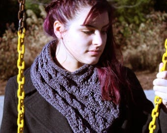 Cabled Cowl Scarf- Slate Grey