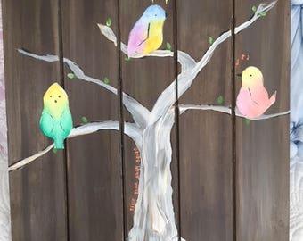 Nursery Children's Room  Woodland Birds Watercolor on Wood