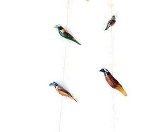 Beautiful Hanging Birds- Hand-Carved & Hand-Painted