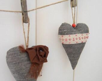 Heart decor linen Valentines decorations Hand made decor Wedding decor