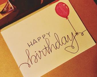 happy birthday | brush lettering | card