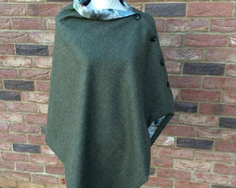 SOLD --Stylish wool tweed poncho--SOLD