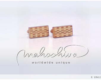 wooden cuff links wood cherry maple handmade unique exclusive limited jewelry - mahoshiva k 2017-70