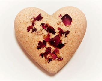 Bath Bomb Heart Shaped Rose Petals UK Seller