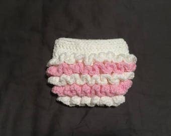 Crochet Diaper Cover - white and pink (Newborn)
