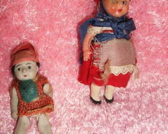 Lot of 2 Vintage Tiny Dolls, One from Japan, One from Italy