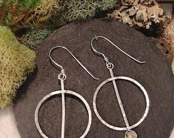 Textured Silver Circle Earrings, Labradorite Earrings, Dangle Earrings, Gift For Mom, Daughter, Her