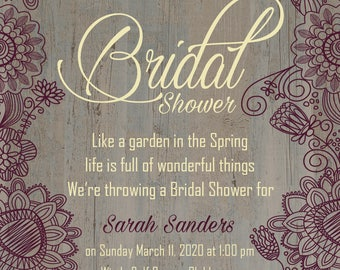 Bridal Shower; Invite; Plum; Wedding; Flowers; Digital Download