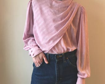 vintage Josephone lilac semi-sheer blouse, asymmetrical bib with pleats