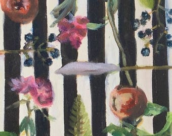 Botanical Stripe Study (original art)