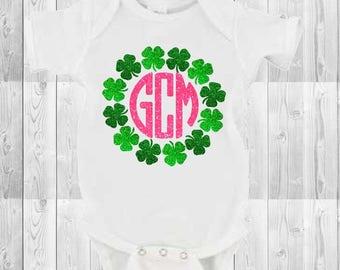 Baby girls St. Patrick's Day glitter clover monogrammed onesie