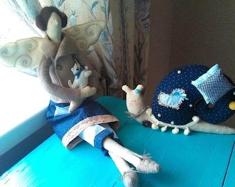 Doll Tilda + snail. Fabric doll Interior doll Rag Handmade doll Soft Decor doll Cloth doll Gift for girls Baby doll Angel doll Fairy Plush