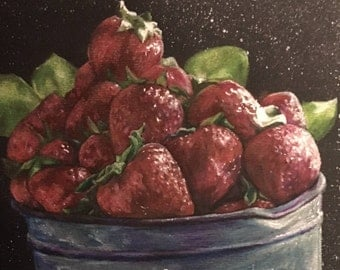 Strawberries in a Tin Can - colored pencils on black paper