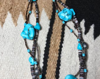 Beautiful 3 Strand Turqouise & Shell Heishi Necklace