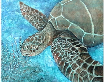 Abstract Fluid Acrylic Painting, unique, embellished with a semi realistic turtle feeding on seagrass