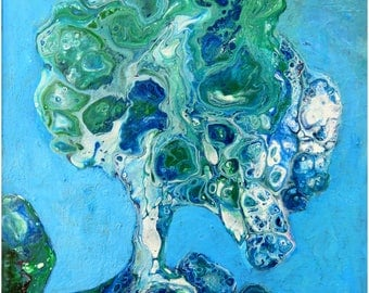 Fluid Abstract Acrylic Painting, Manipulated with Negative Painting