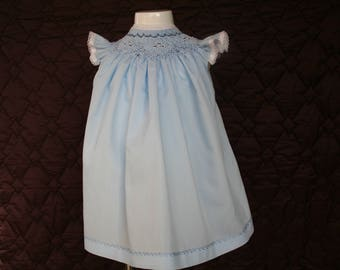 Blue Dress embroidered in Russian point.