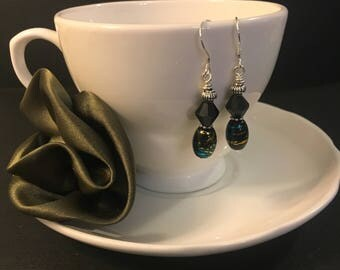 Black, Blue, Silver and Gold Beaded Drop Earrings