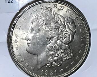 1921-P Morgan Silver Dollar. AU Condition!
