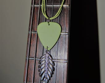 Guitar Pick Necklace - Leaf
