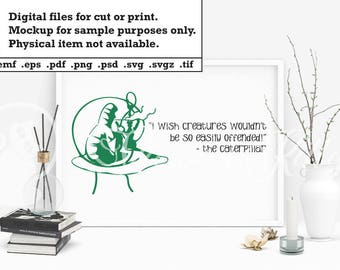 Alice in Wonderland Caterpillar, lewis carroll quote, ai dxf emf eps pdf png psd svg svgz tif files for cricut, silhouette, brother