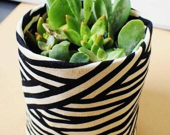 Fabric Plant Pot | Storage Basket | Home Decor | Monochrome Bamboo Stripe Print Planter | Gift | Fabric Basket | Storage Container | Small