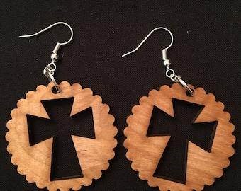 Cross cutout earrings