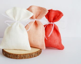 "6"" x 3.5"" favor gift bags, shower gift bags, linen wedding pouches, set of 25 linen purses, candies gift bags, weddings favor bag"