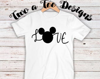 Love with Mickey Mouse Head. Disney shirt themed. Unisex shirt for Disney fanatics. Love mickey minnie. Disney shirt for family