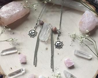 Sun Goddess Quartz Crystal Sunstone Necklace