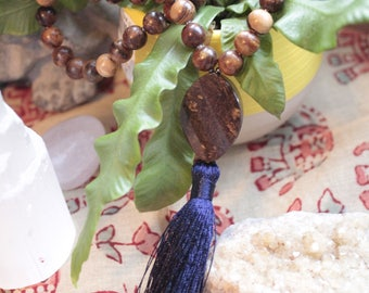 Wooden and Jade Mala with long tassel