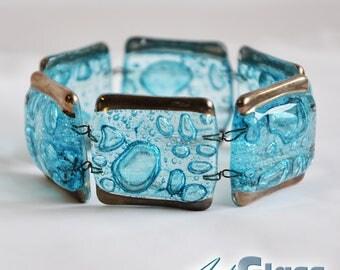 Bracelet handmade bubble turquoise with platinum