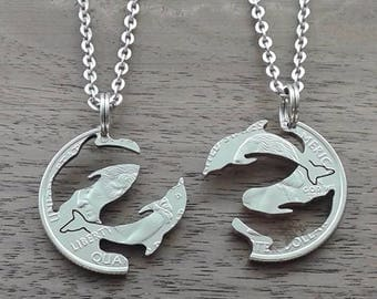 """Coin jewelry, Quarter dollar USA-partner pendant """"Dolphins"""""""