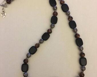 Black jasper necklace with glass pendant