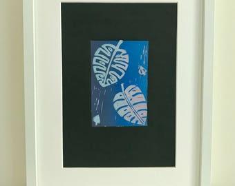 Monstera leaf Lino print Cheese plant Tropical print Wall art Wall decor Original print Blue
