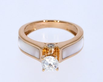 6.00 mm VVS-EF White Moissanite 0.09 ct Natural vs/si-gh Diamond | 10KT/14KT/18KT Rose Gold IGI Certified Ring with White Mother of Pearl